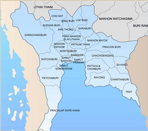 Map of Central Thailand for One Day Trips Two Day Tours to Ampawa
